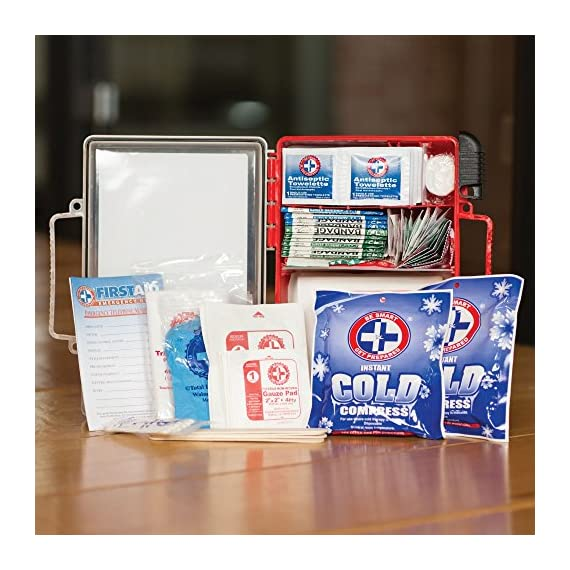 Be Smart Get Prepared First Aid Kit, 250 Piece Set 1 Count 3 250 pieces of comprehensive first aid treatment products. Manufactured by the leading manufacturer of First Aid Kits in the USA. Meets or exceeds OSHA and ANSI 2009 guidelines for 50 people. Ideal for most businesses and perfect for family use at home. Fully organized interior compartments provides quick access. Rugged, sturdy hard plastic case is impact resistant