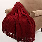 Home Soft Things Cable Knitted Throw Couch Cover Blanket, 50' x 60', Burgundy