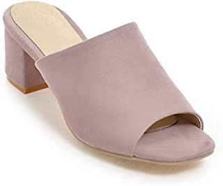 Bonrise Women's Fashion Slip-On Block Heel Sandals Open Toe Chunky Heel Slide Sandals Dress Shoes
