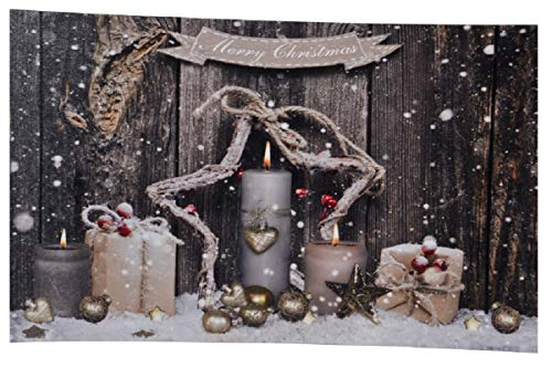 LED Wandbild Weihnachten Stern Kerzen Advent 60cm x 30 cm
