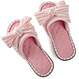 ULTRAIDEAS Women's Memory Foam Open Toe Slide Slippers with Adjustable Strap, Ladies' Slip-on House Shoes Spa Mules Sandals with Indoor Outdoor Anti-Skid Rubber Sole, Pink, 11-12