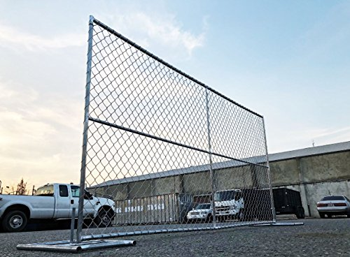 Temporary Galvanized Steel Chain Link Fence Panel 8 ft Height x12 ft Width, Outdoor Garden Patio Lawn Metal Portable Temporary Fencing
