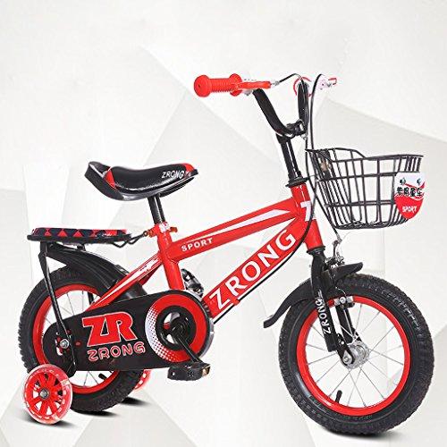 ZPWSNH Kinderfiets 14-Inch Kinderfiets 3-5-jarige Baby Fiets Koolstofstaal Kinderwagen, Rood/blauw/groen Kinderfiets (Kleur : Roze)