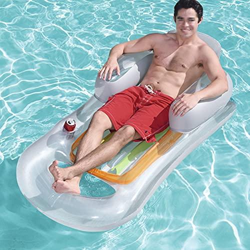 JSJE Silla de flotación de natación de Parque Infantil, Verano para Adultos al Aire Libre Salón de la Silla (con Asiento de Cama), Silla de Playa D