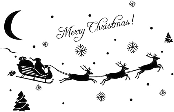 XxiaoTHAWxe Merry Christmas Santa Sleigh Snow Wall Sticker Window Glass Decal Home DIY Decor Black
