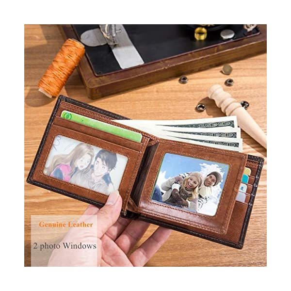 BULLCAPTAIN Wallets for Men with Double ID Window Slim Bifold Vintage Genuine Leather Front Pocket Wallet QB-05#3 4