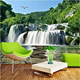 Iusasdz Custom Chinoiserie Wall Papers Landscape Waterfall 3D Stereo Mural Background Wall Living Room Home Decor Wallpaper for Walls 3D-120X100Cm