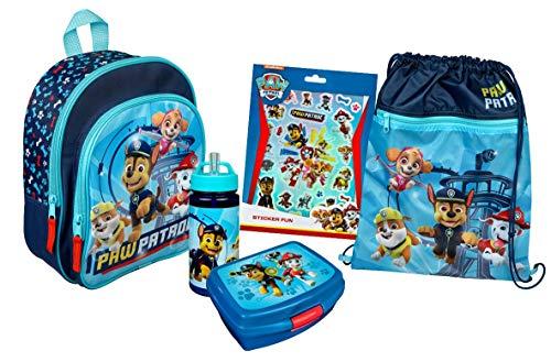 Paw Patrol Kindergartenrucksack Set Junge und Mädchen I Rucksack Set 5-TLG. mit Rucksack, Turnbeutel, Brotdose, Trinkflasche, Sticker Set, blau
