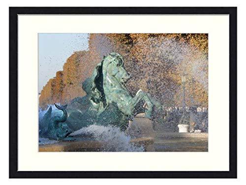 OiArt Wall Art Print Wood Framed Home Decor Picture Artwork(24x16 inch) - Paris France Fountain Water Fall Autumn Sculpture