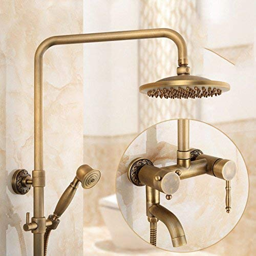 ZCYXQR Lavabo Grifo del Lavabo del baño Latón Antiguo Retro Juego de Ducha de Lluvia Juego de Agua fría y Caliente de Mano Grifo del Lavabo del baño Grifo Mezclador de Lavabo