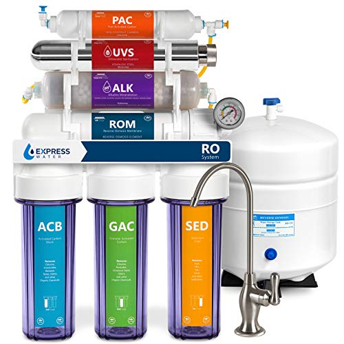 Express Water UV Reverse Osmosis Water Filtration System – 11 Stage UV Water Filter with Deluxe Brushed Nickel Faucet, Tank, & Pressure Gauge – Under Sink Water Filter – with Alkaline Filter – 100 GDP