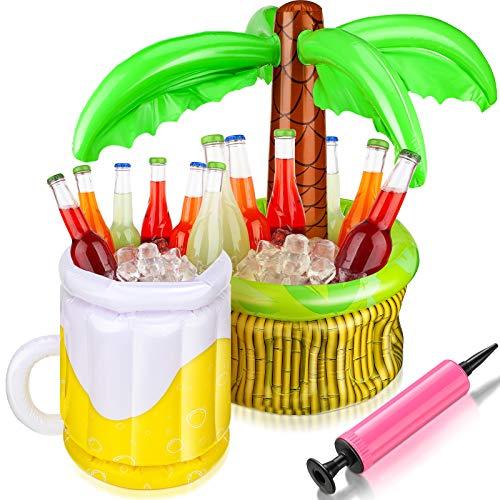 2 Enfriadores Inflables con Bomba de Inflado Incluye Enfriador de Palmera y Enfriador Hinchable de Cerveza para Fiestas en Piscina en Playa Suministros Fiesta Luau Decpración Fiesta Verano