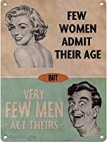 年齢を認める女性はほとんどいない メタルポスタレトロなポスタ安全標識壁パネル ティンサイン注意看板壁掛けプレート警告サイン絵図ショップ食料品ショッピングモールパーキングバークラブカフェレストラントイレ公共の場ギフト