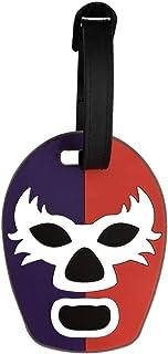 By Mexico Lucha Libre Wrestling Mask Luggage Tag, Máscara Lucha Libre Morado y Rojo