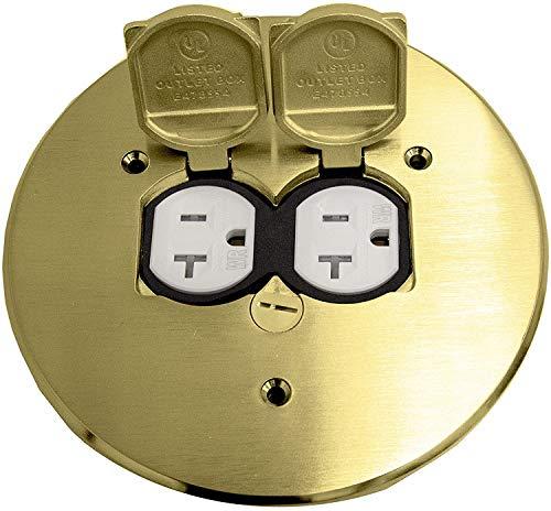 ENERLITES Dual Flip Lid Floor Box Cover, 5.75' Diameter, 20A Tamper-Weather Resistant Receptacle Outlet, Watertight Gaskets, 975517-C, UL Listed, Brass, 2. Brass 5.75', 1 Gang