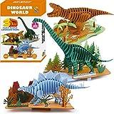 CUPUZ 3D Paper Puzzle, 3 Assorted Dinosaurs, Premium Cardboard Models, DIY Kit for Child, Educational Craft -Rex, Stegosaurus, Brachiosaurus Puzzles