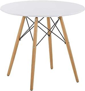 GOLDFAN Table en Bois Table Ronde Salle Manger Scandinave Blanc Table à Manger Table de Cuisine de Salle à Manger de Salon