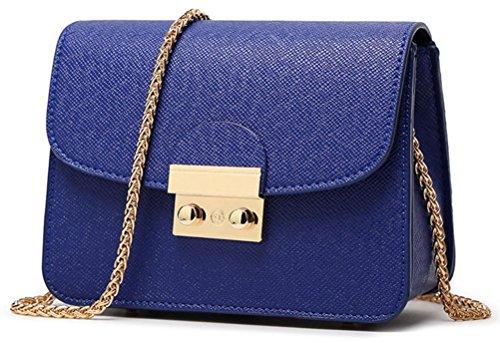 Honeymall Kleine Damentasche Umhängetasche Citytasche Schultertasche Handtasche Elegant Retro Vintage Tasche Kette Band(Blau)
