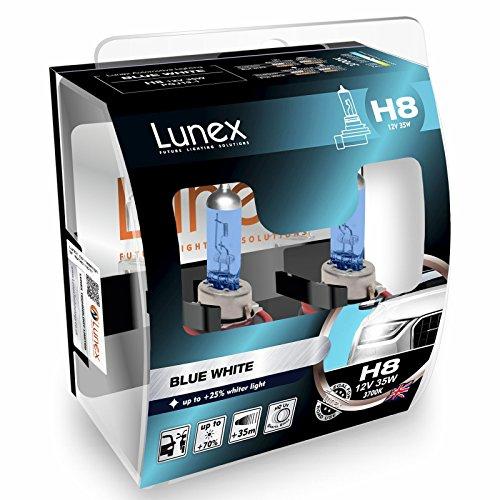 LUNEX H8 Blue White Ampoules Halogenes Phare Effet Bleu 708 12V 35W PGJ19-1 3700K duobox (2 pièces)
