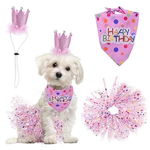 HACRAHO Suministros de fiesta de cumpleaños para perros, 3 unidades de bandana de cumpleaños para perros pequeños y medianos con sombrero y vestido para niña, color rosa