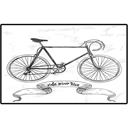 Bicycle Floor Mats Ride Your Bike Lettering with Nostalgic Mountain Bike Hand Drawn Sketchy Carpet for Front Porch/Kitchen/Farmhouse/Entryway 24x16