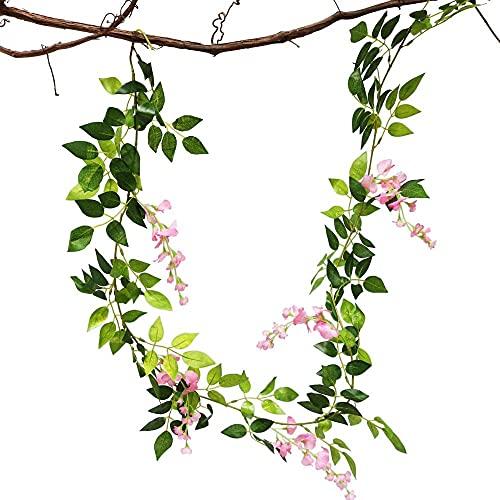Demic Wisteria - 4 flores artificiales para colgar en la pared, seda y orquídea, para oficina, cocina, jardín, fiesta