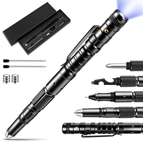 Tactical Pen, Gift for Father,Gadgets for Men, Multitool with LED Flashlight for Women, Cool & Unique Birthday Christmas Gifts Ideas for Him Husband Dad Grandpa with Black Gift Box