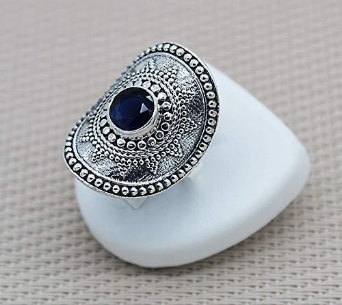 Anello con zaffiro blu argento. Anello etnico in pietra naturale d'argento