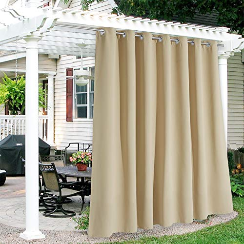 RYB HOME Patio Curtains Outdoor - Waterproof Windproof Summer Heat Insulating Extra Wide Grommet Curtain for Porch Gazebo Pergola Canopy Outside Deck, Width 100 x Length 95, 1 Piece, Beige