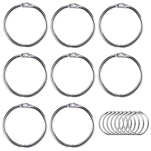 Luckkyme Loose Leaf Binder Rings Nickel Plated Book Rings Key Chain Rings 3.5 Inches(8 Pack)