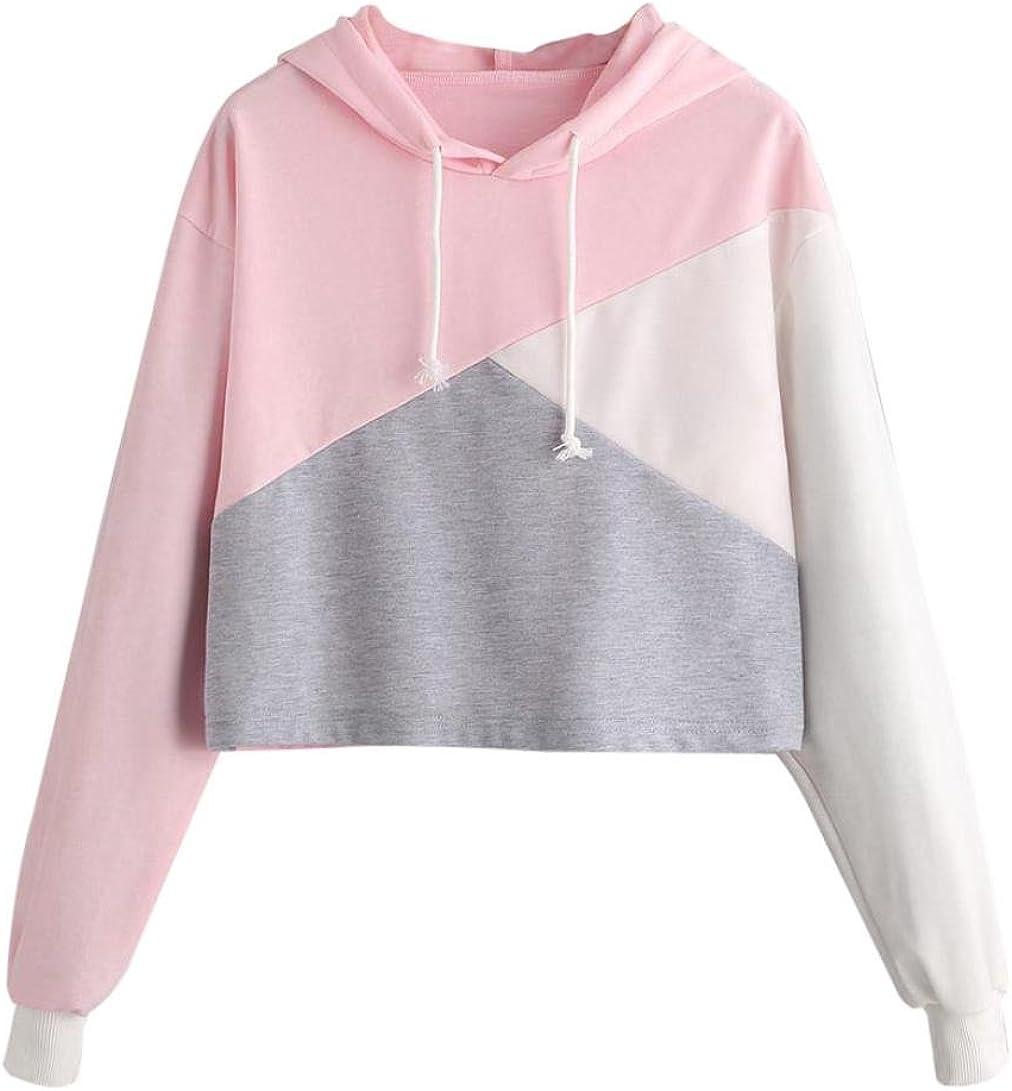 Rambling 2018 New Women Teen Girls Hoodie, Fashion Color Block Long Sleeve Hoodies Crop Top Sweatshirt