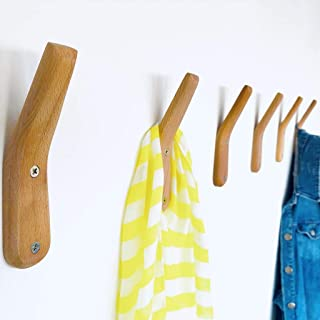 Wall Hooks UMZi Mounted Handmade Beech Wood Hook Coat Rack (Pack of 2)Modern Wooden Hat Rack Entryway Organizer Bathroom Hanger Rustic Towel Hangers Home and Kitchen Use Pegs(Pack of 2)(Natural Beech)