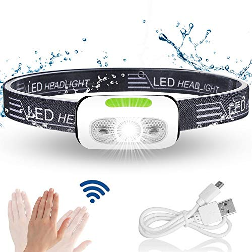 Karrong LED Stirnlampe Wiederaufladbar, IPX6 Wasserdicht, 500 Lumen, Infrarotsensor Mini USB Joggen Kopflampe fürs Outdoor Sport Laufen Angeln