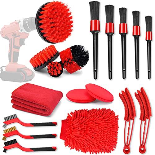SJPLZQC 18 Pcs Car Cleaning Tools Kit with Car Detailing Brush Set,Auto Detailing Drill Brush Set,Car Cleaning Kit for Cleaning Wheels,Dashboard,Interior,Exterior,Leather, Air Vents, Emblems