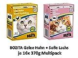 Bozita Häppchen Gelee mit Huhn und Soße Lachs Multipack | 32x 370g Katzenfutter