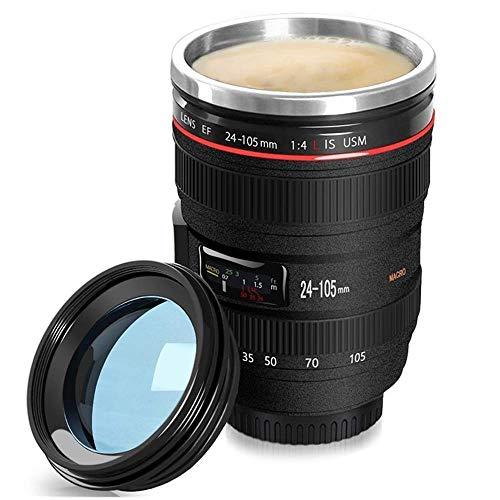 Cefrank Tazza con Obiettivo per Fotocamera, Tazza da caffè Tazza isolata in Acciaio Inossidabile con Coperchio, Nero, 350 ml
