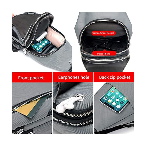 51QGHGefVwL. SS600  - FANDARE Bolsa de Pecho Hombres con Bolsos de Mano Bolsa Deportiva de Hombro Bolsa de Mochila con USB,para Acampada,Viaje…