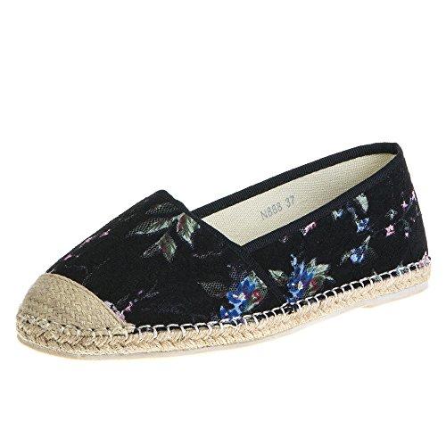 Ital-Design Damen Schuhe, N888, Ballerinas, Sommer Halbschuhe Slipper, Textil und Synthetik, Schwarz Multi, Gr 40