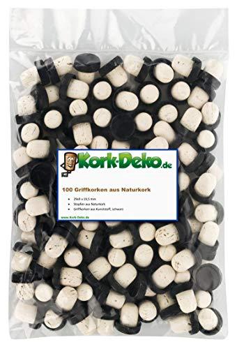 Griffkorken mit Kunststoffgriff 19,5 mm | Kunststoffgriffkorken | 100% Naturkork | Für Gin, Spirituosen, Öle und Saft | Natur Kork aus Portugal | Griffgröße 29 x 9,5 mm (100er-Pack)