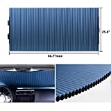 Retractable Windshield Sun Shade for Car, Cordless Cellular Sun Visor Protector Blocks 99% UV Rays to Keep The Vehicle Cool, Honeycomb Sunshade Fits Various Models with 3 Suction Cups 25.6'x 56.7'max