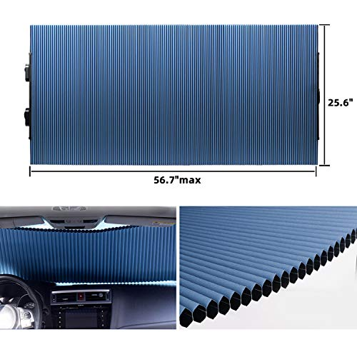 """Retractable Windshield Sun Shade for Car, Cordless Cellular Sun Visor Protector Blocks 99% UV Rays to Keep The Vehicle Cool, Honeycomb Sunshade Fits Various Models with 3 Suction Cups 25.6""""x 56.7""""max"""