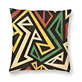Yaateeh African Tribal Ethnic Geometric Decorative Throw Pillow Covers 18x18 Inch Pillows Case Square Cushion Cover Cases Pillowcase with Zipper Sofa Home Decor for Couch Bed Patio Car
