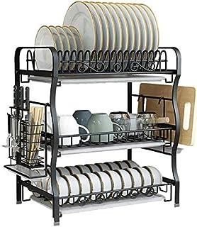 DJSMsnj Rangement de cuisine en acier inoxydable 304 3 étages Égouttoir à vaisselle Noir 47,5 x 27,5 x 54,8 cm