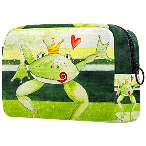 Trousse de maquillage portable Motif prince grenouille avec cœur