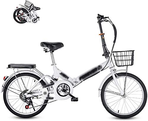 Bicicleta plegable para adultos Bicicleta plegable plegable al aire libre para adultos mujeres hombres Mini bicicleta plegable con freno V 20 '-blanco