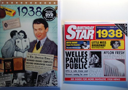1938 Birthday Gifts Pack - 1938 DVD Film , 1938 Chart Hits CD and 1938 Birthday Card