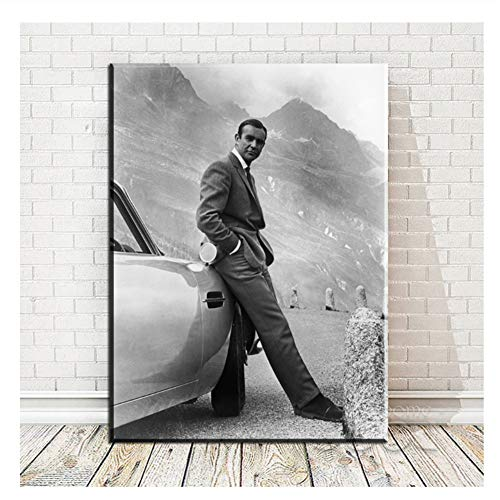 Suuyar Sean Connery 007 James Bond Goldfinger 1964 Goldfinger Directed Movie Poster Stampa Artistica su Tela per Decorazione Murale - 20X28 Pollici No Frame