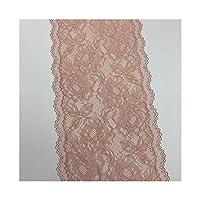 レーストリム 3Y /ロット幅24センチメートル花弾性レーストリムアプリコットグレーレッドスカートの裾のためにファッションアクセサリードレス縫製アップリケコスチュームレース生地 (Color : Pale Pink)