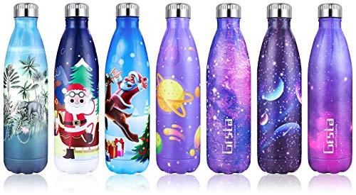 Grsta Botella Agua, 750ml Botella Agua Acero Inoxidable sin BPA Pared Completa Botellas de Frío Caliente Termo Botellas Termica Prueba de Fugas para Niños, Adultos, Deporte, Yoga, Ciclismo