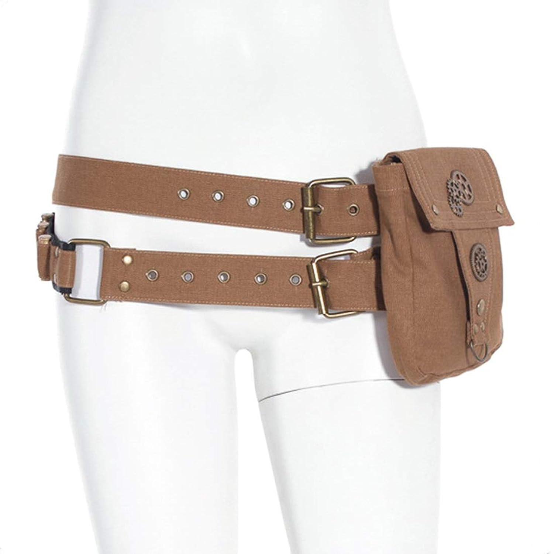 MAGAI Steampunk Gothic Canvas Multipurpose Backpack School Girls Handbags Messenger Bags Double Belt Hiking Waist Bag ( color   Khaki )